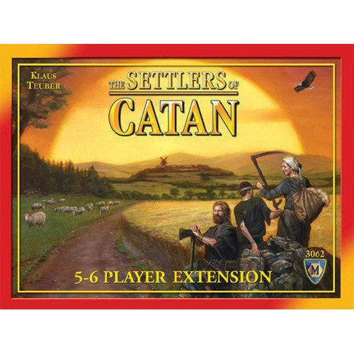 Extend your The Settlers of Catan® game to include more players and more scenarios. More tiles, more resource cards, more development cards, and components (settlements, villages, roads) for two additional players. In the Settlers of Catan 5-6 Player Expansion you control a group of settlers exploring and taming the uncharted lands of Catan.  $22.99  http://www.calendars.com/Strategy-and-Adventure-Games/Settlers-of-Catan-5-6-Player-Expansion/prod1279136/?categoryId=cat430016=cat430016#