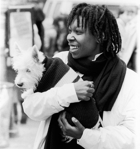 Whoopi Goldberg pictured with her Scottish terrier Otis. (Moneta Sleet, Jr.) View the entire EBONY Collection at EBONY.com/store.