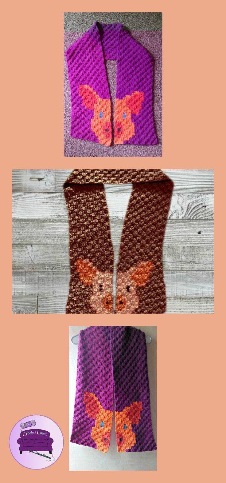 Pig Scarf C2C Crochet Pattern | Crochet! | C2c crochet, Crochet