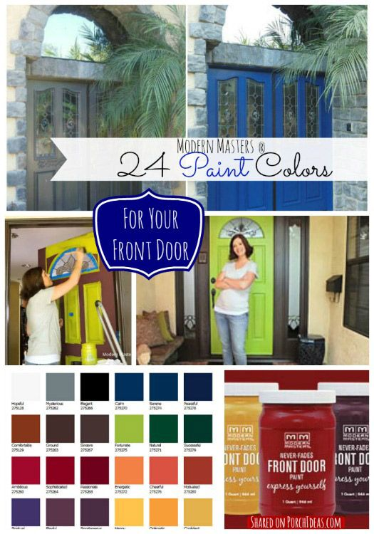 24 fabulous paint colors made especially for doors! Wow, imagine how your front door could look in this paint. Modern Masters has a free app that allows you to see your front door in any of their 24 colors - before you lift a brush. See more: http://www.front-porch-ideas-and-more.com/front-door-paint-colors.html #doorpaint