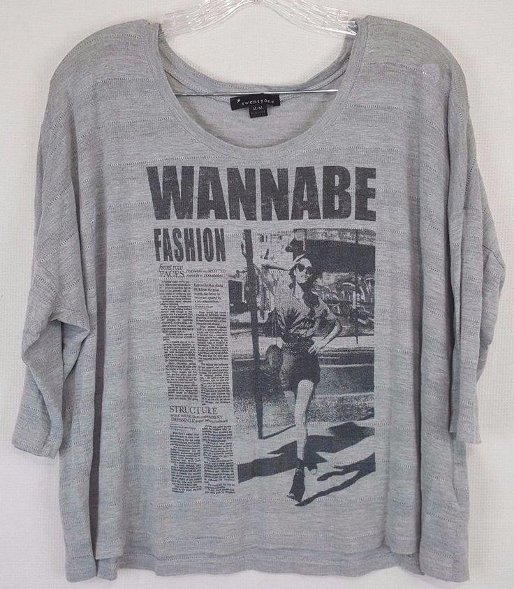 Twenty One Women's grey Newspaper Fashion Graphic bat wing shirt Size Medium  BD #TwentyOne #KnitTop #Any