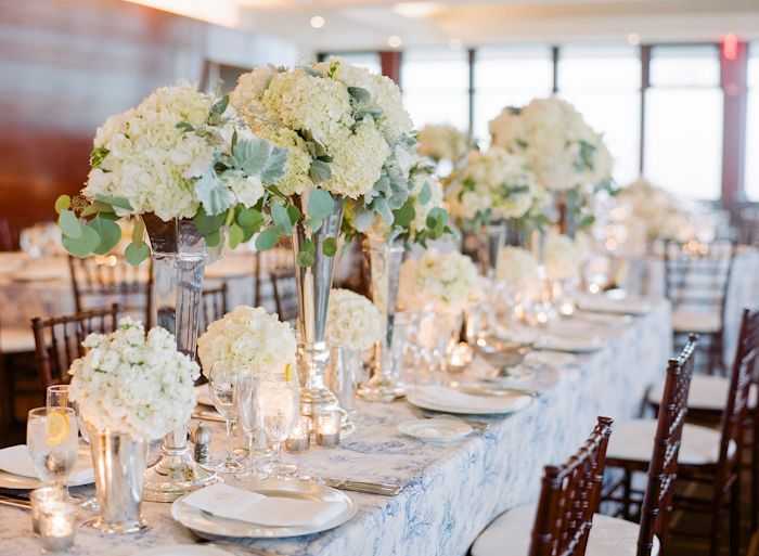 The flowers are so pretty for any kind of party.: Centerpiece, Beautiful Tables, Tables Scapes, Receptions Tables, Head Tables, Lemon Pound Cakes, White Hydrangeas, Flower, Mint Julep Cups