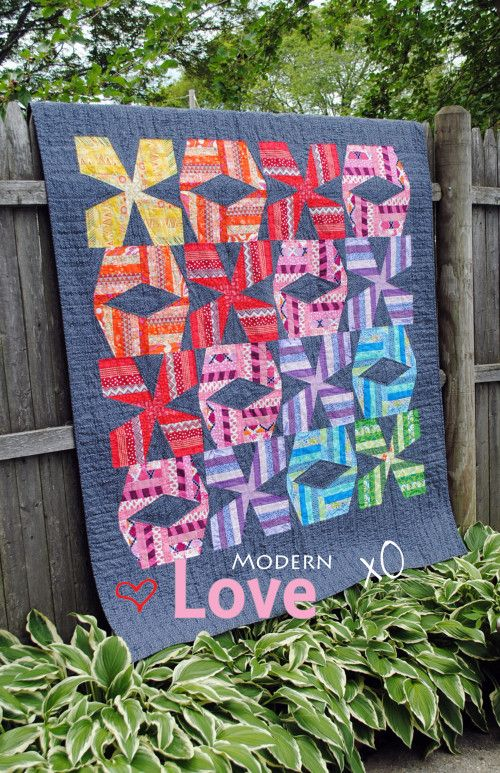 modern xo quilt pattern with big stitch hand quilting in ...
