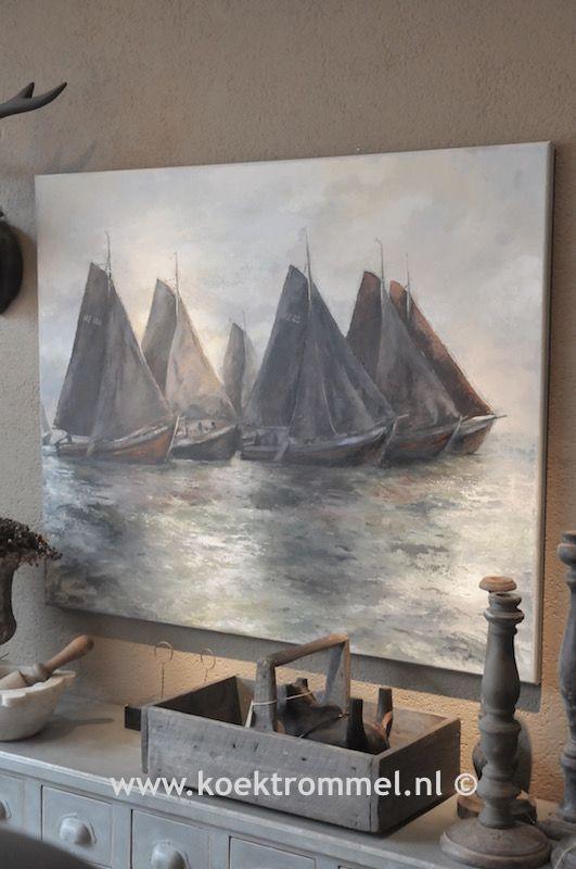 Schilderij met Huizer botters.