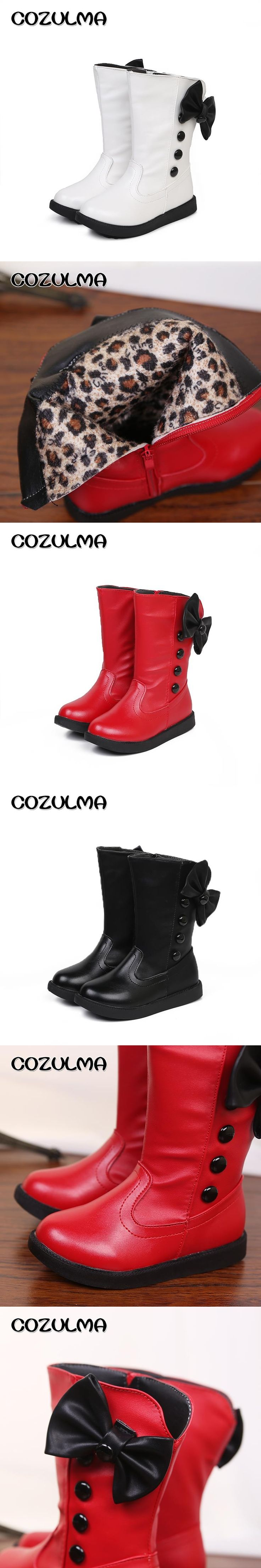 COZULMA Girls Boots Kids Winter Boots With  Warm Plush Winter Boots For Kids Girls High Cotton-Padded Shoes Girls Winter Shoes