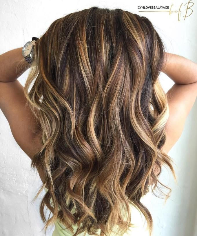 Long Brown Hair With Caramel Highlights | Hair Inspo. Hair Color. Hair Color Ideas. Hair Ideas. Brunette. Highlights. Lowlights.