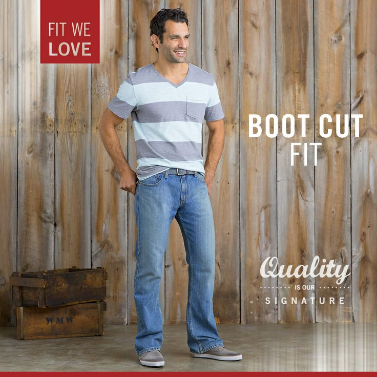 Signature by Levi Strauss & Co.™ Men's Boot Cut Fit has a straight fit through the seat and thigh and a boot cut leg opening.
