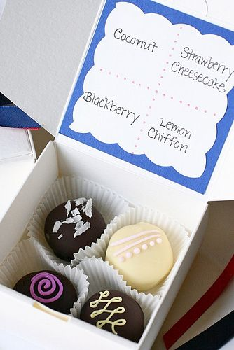 Truffles as gifts in a little box. Nx