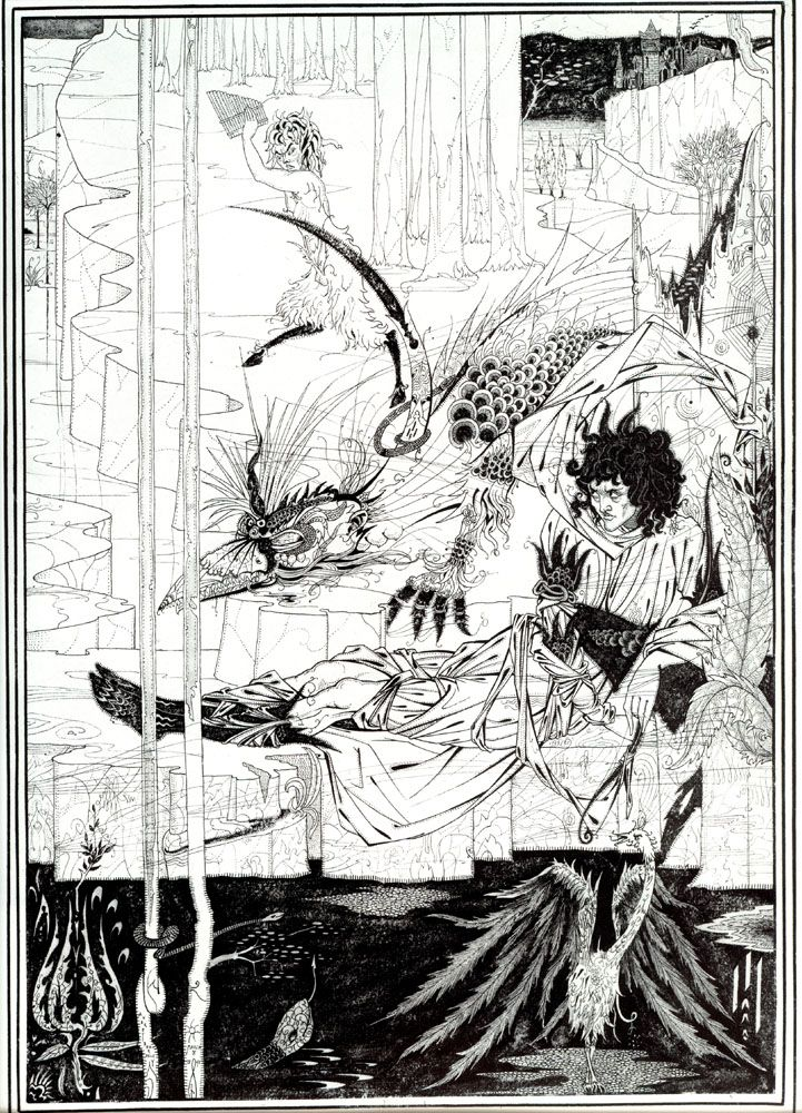 'How King Arthur saw the Questing Beast and thereof had great marvel' from Le Mort d'Arthur / Aubrey Beardsley: