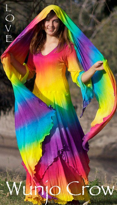 We are offering a few Rainbow dress orders,as well as rainbow wraps. Created from rayon knit that is divine to wear. It is a knit,so if you get a hole..sew it up and it will need hand washing,but the effort is really worth it because few fabrics feel as gorgeous as this to wear. Cost of dresseS With long pointy hoods $240  WITHOUT HOODS $198  POSTAGE  Within AU $15 US $38  Wraps $90 postage AU $10 US $21 TO ORDER A DRESS  please email me at  wunjocrow@hotmail.com for payment details