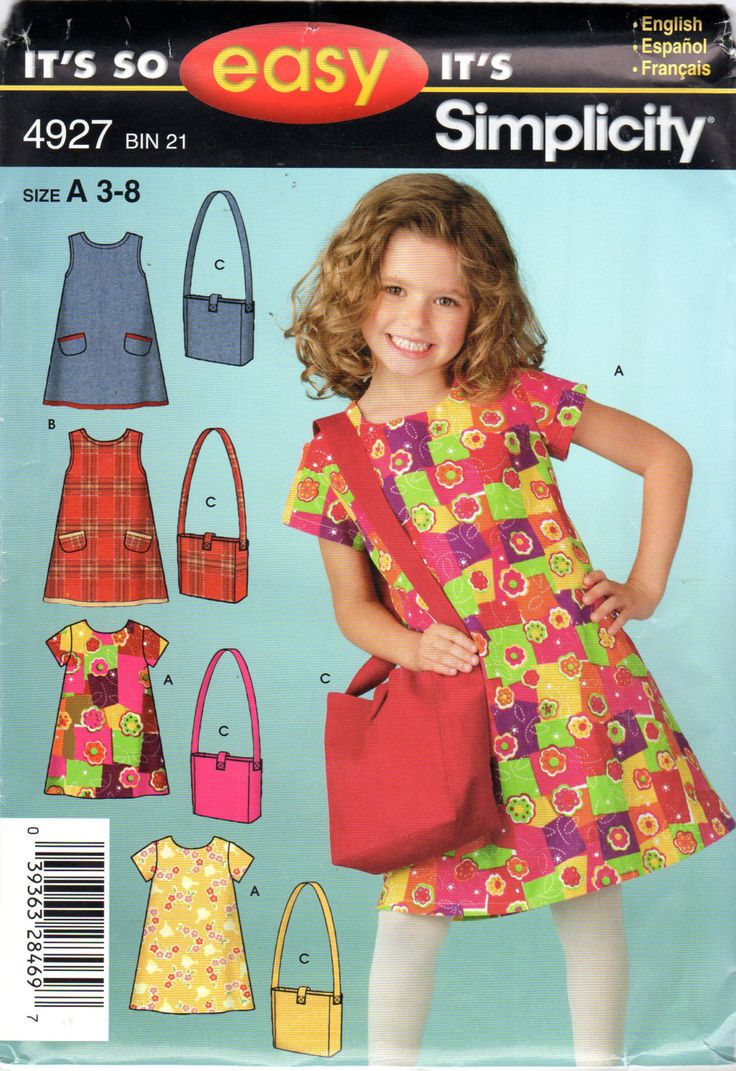Easy Girls Dress And Purse Pattern Size 3 4 5 6 7