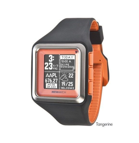 £95 with FREE P&P  NEW MetaWatch STRATA (Tangerine Orange) Smartwatch for iPhone iOS Apple, Android