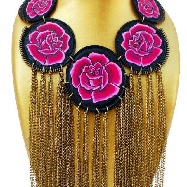 #Happy #roses #necklace # jewellery #unique #bespoke #handpainted #fashion #lifestyle #accessory #designer #fashionista #dreamer #accessories #accessorize #art #artist #design #decor #flukedesign #handpaint #handcraft #handcrafted