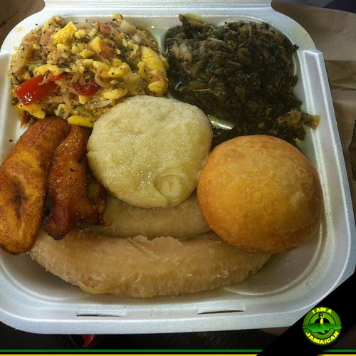 Man, listen...Ackee, callaloo , boiled and fried dumplings, plantains & green  bananas...