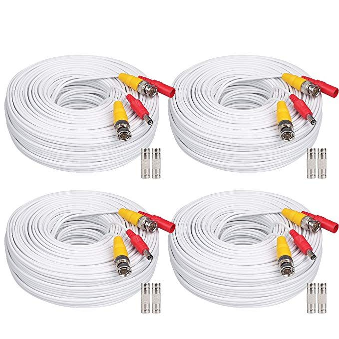 Wildhd 4x200ft Bnc Cable All In One Siamese Video And Power Security Camera Cable Extension Wire Cord With 2 Female Connetors For All Hd Cctv Dvr Surveillance S Surveillance System Security Camera Cables