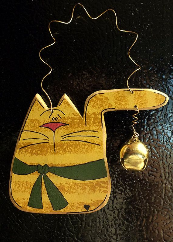 Tole Painted Wood Yellow Tiger Cat by KathysHeartCreations on Etsy, $7.99