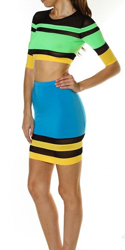 Image of Striped Crop Top & Skirt Set