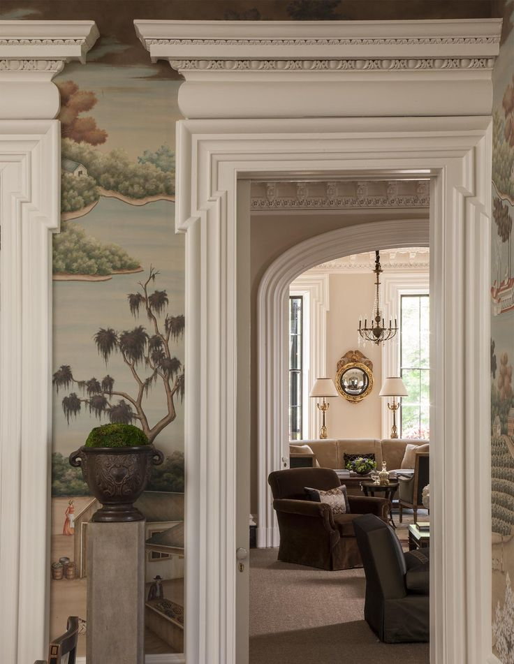 Historic Charleston Crown Molding Enhanced By A Gracie Studio Wall Covering To Provide For A