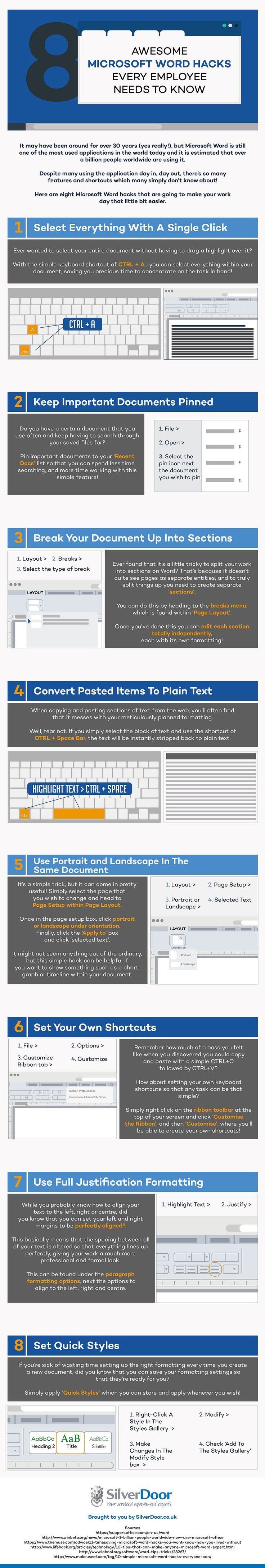 8 Awesome Microsoft Word Hacks (Infographic)