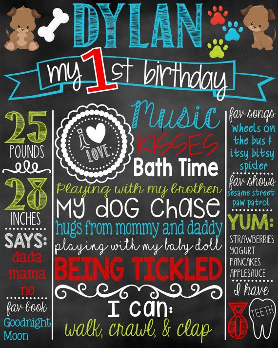 Puppy First Birthday Chalkboard Sign Board/ by DylanAndMadison