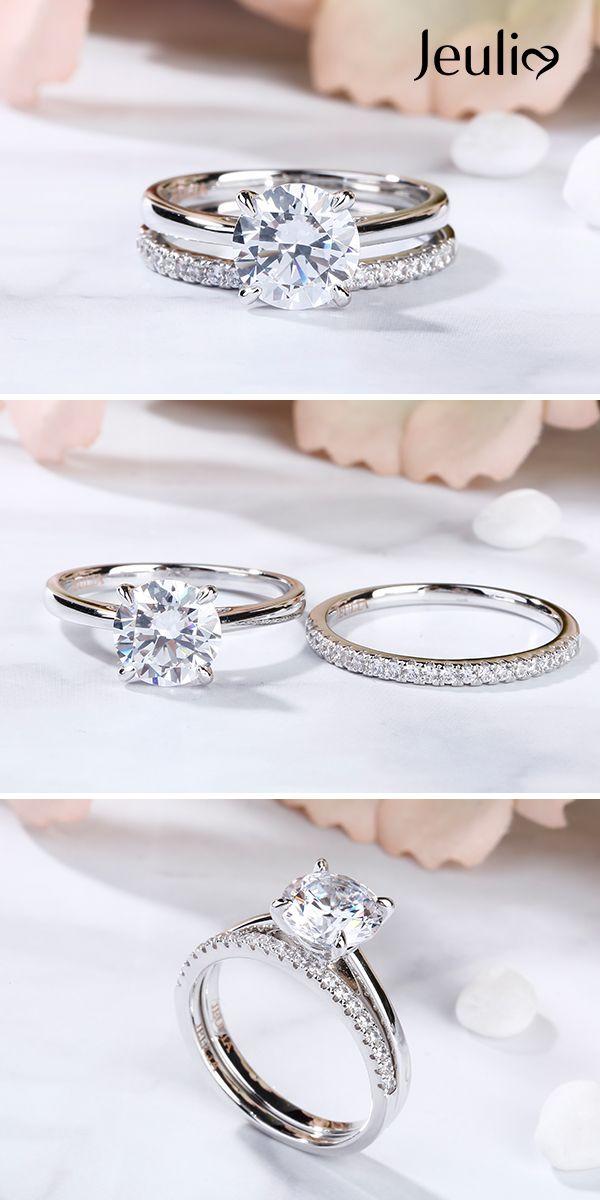 Anillo de boda simple engastado redondo corte 3.5ct diamante blanco Jeulia Stone   – Feste/feiern