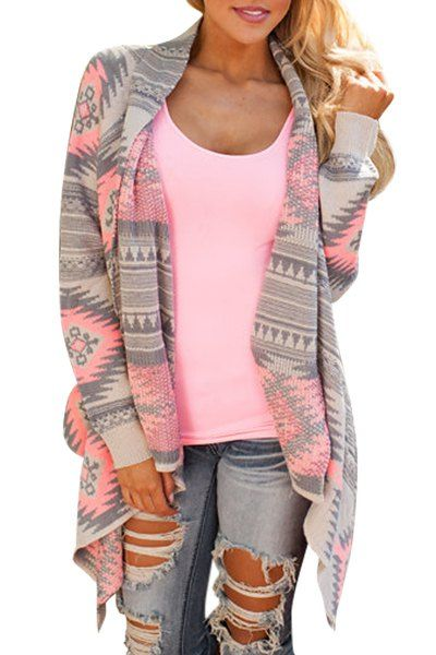 Digging the pattern on this… »» …Casual Geometric Print Long Sleeve Asymmetric Cardigan For Women
