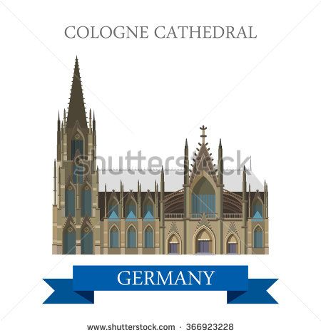 Cologne Cathedral Kolner Dom in North Rhine Westphalia Germany. Flat cartoon style historic sight web site vector illustration. World countries cities vacation travel sightseeing collection.