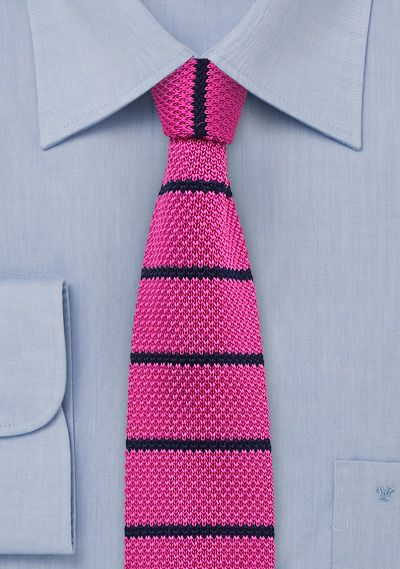 Skinny Knit Tie in Hot Pink and Navy | $15