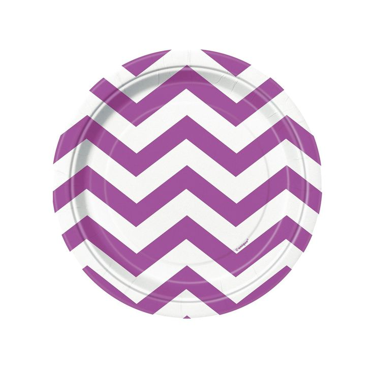Pretty Purple Chevron Dessert Plates (8) from BirthdayExpress.com