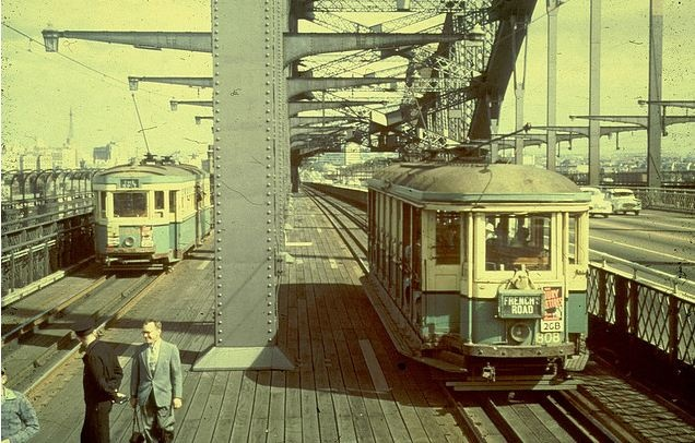 Trams on Sydney Harbour Bridge in the 1950s