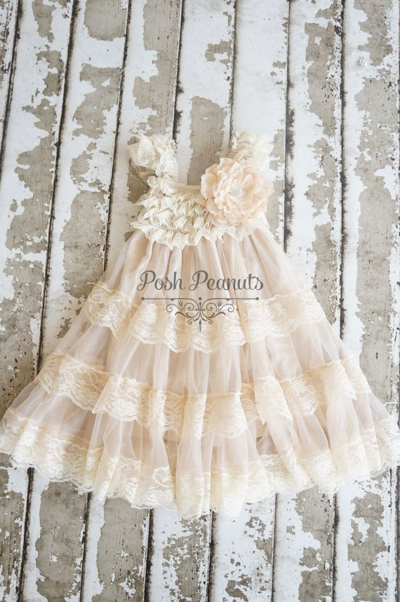 Lace Flower Girl dress Flower Girl Dresses by PoshPeanutKids, $45.00....or this one?