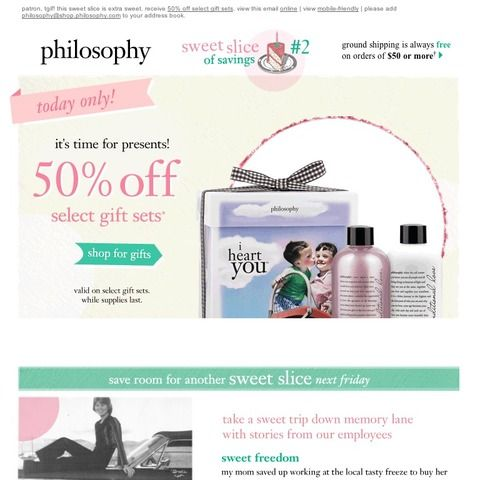 Philosophy - tgif! 50% off select gift sets - one day only!