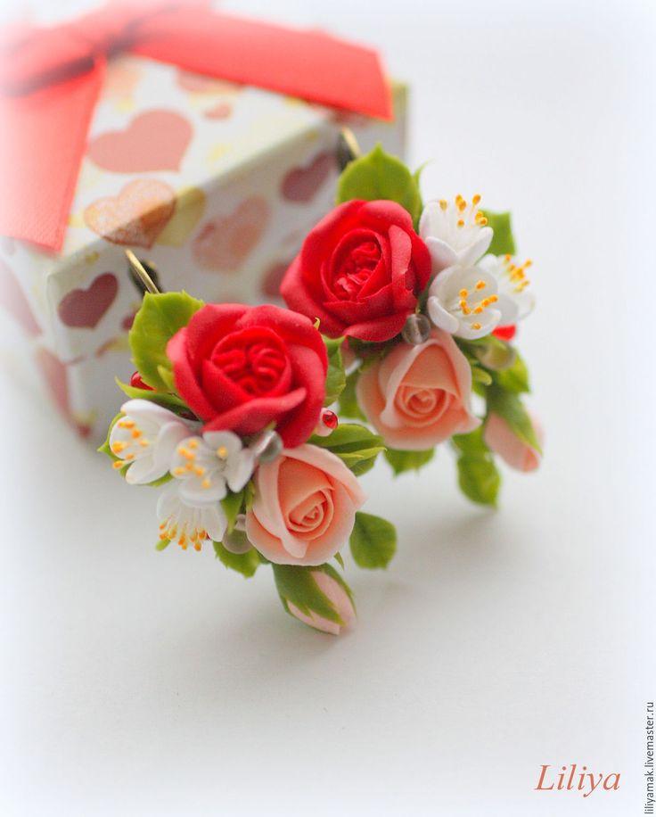 Купить Серьги с красной пионовидной розой - ярко-красный, серьги с цветами, цветочное украшение
