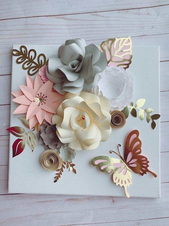 Canvas 12×12, paper flower canvas, paper hydrangeas, paper roses, paper flowers wall art, paper flowers decor, paper flowers frame – Quilling