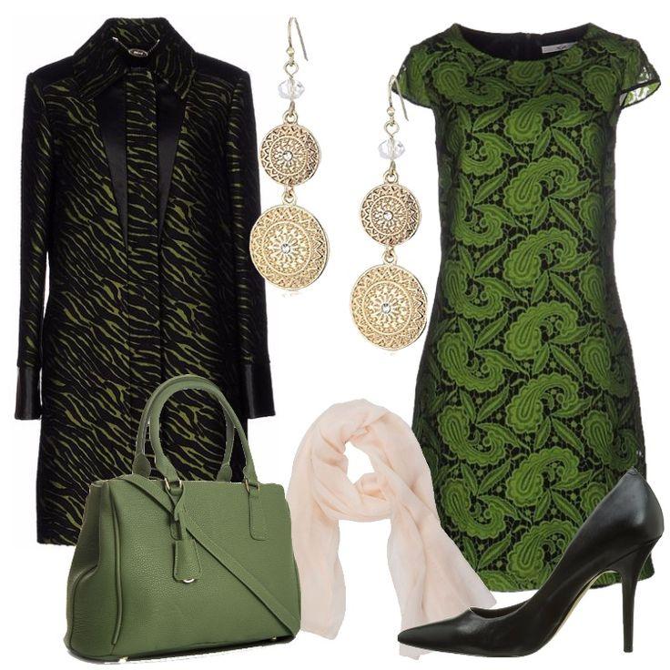 Un insolito abbinamento il verde ed il nero: cappotto verde, fantasia bicolore, collo classico, monopetto, automatici, multitasche, abbinato a vestito verde in crêpe, pizzo, fantasia cachemire, collo tondo, maniche corte, al quale consiglio di abbinare un cardigan in tinta con il look. Décolleté nera, punta, tacco a spillo, borsa a mano pastel green, tracolla, sciarpa crema, originali orecchini pendenti completano il look.