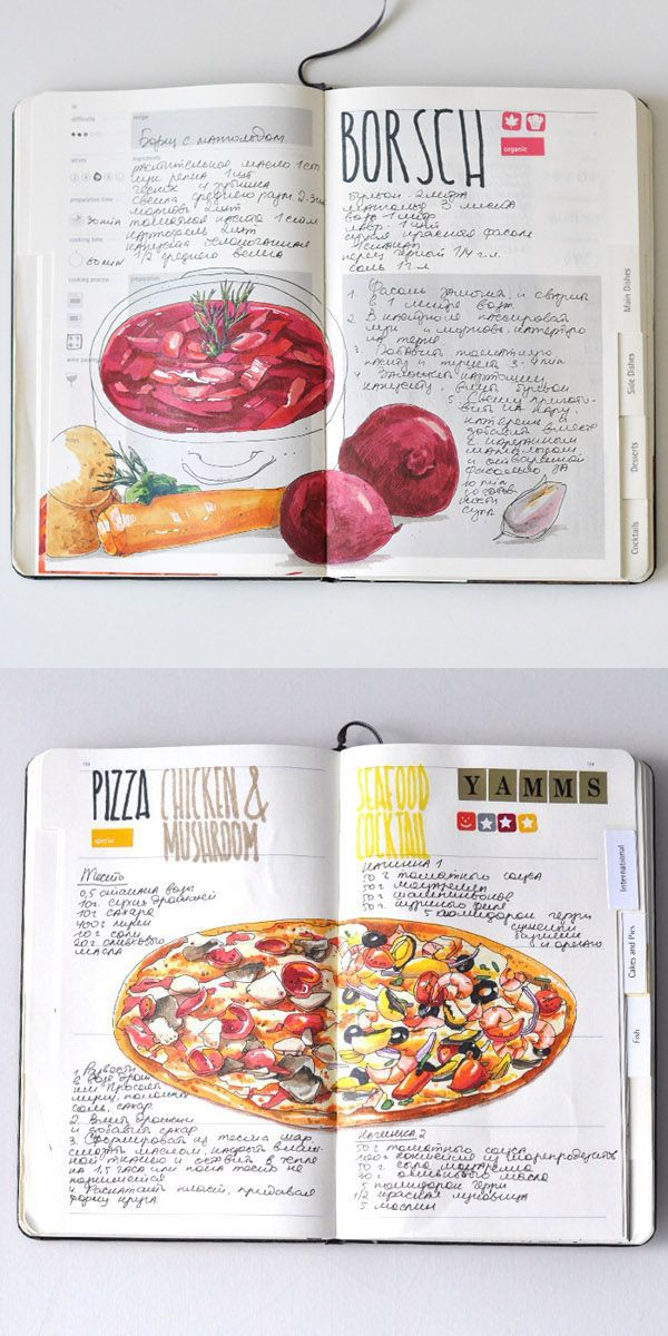 You can sketch anything, even recipes! So beautiful! Recipe journal 2014 by Sally Mao