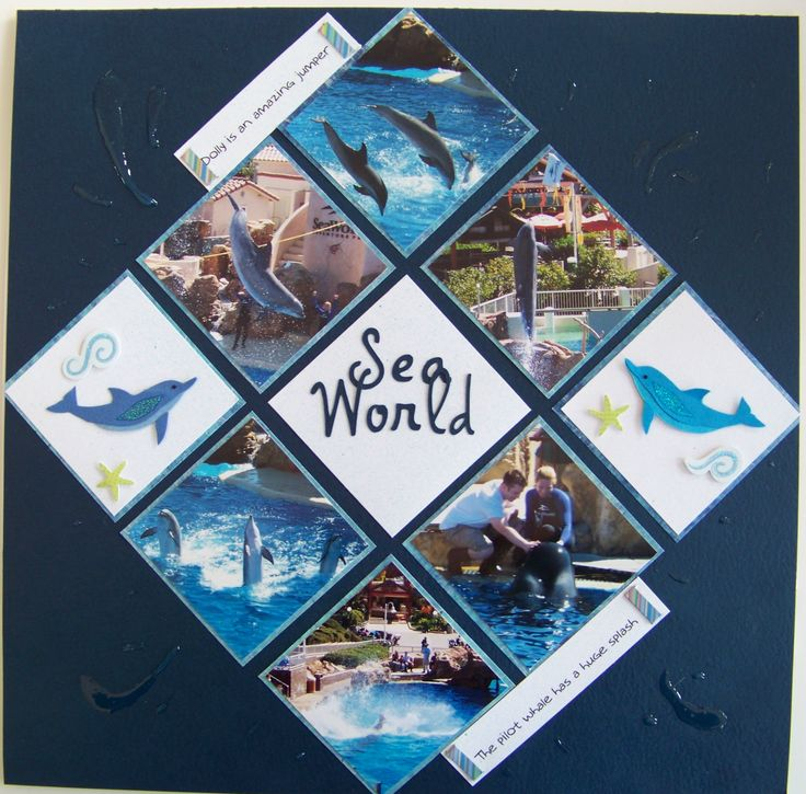 Sea World - Scrapbook.com scrapbook page layout Simple idea to try