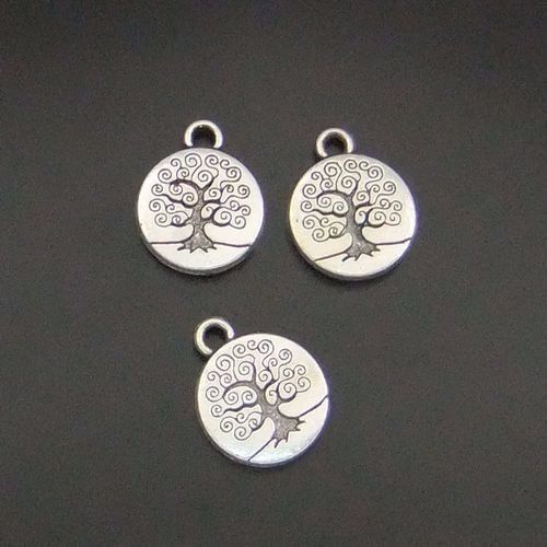 20pcs Vintage Silver Alloy Tree Printed Round Pendant Charms 16*16mm 05783