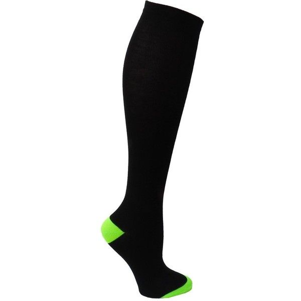 Amazon.com: RSG Hosiery Knee High Socks For Teens & Women Solids &... ($6.99) ❤ liked on Polyvore featuring intimates, hosiery, socks, patterned hosiery, knee socks, knee hi socks, print socks and neon green socks