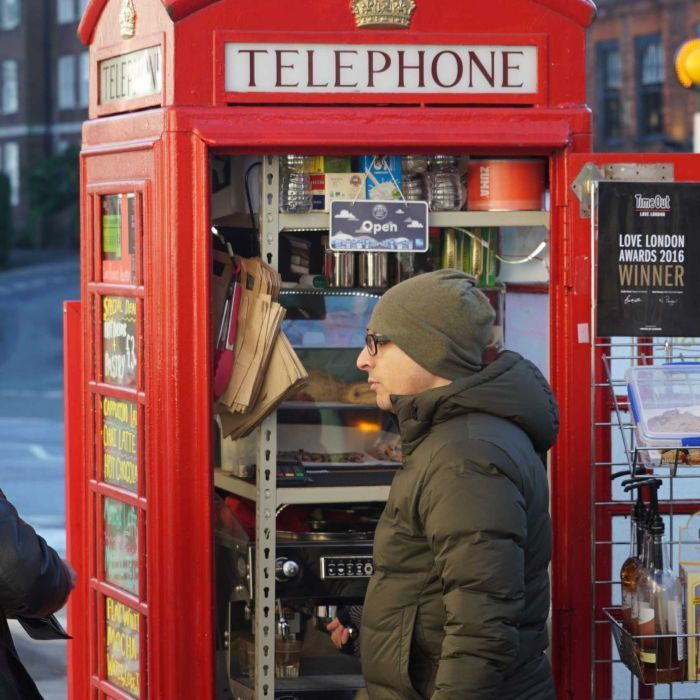 England's redundant red telephone boxes have new lives as salad bars, souvenir stores and tiny coffee shops.