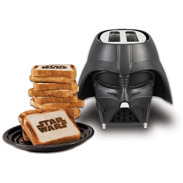 Pangea Star Wars 2-Slice Darth Vader Toaster, Black (€28) ❤ liked on Polyvore featuring home, kitchen & dining, small appliances, star war, black, bread toaster, two slice toaster, black toaster, pangea and colored toasters