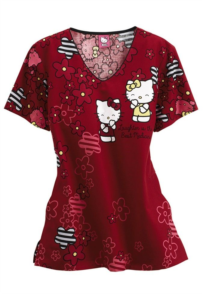 Cherokee Tooniforms Hello Kitty Laughs v-neck print scrub top. - Scrubs and Beyond
