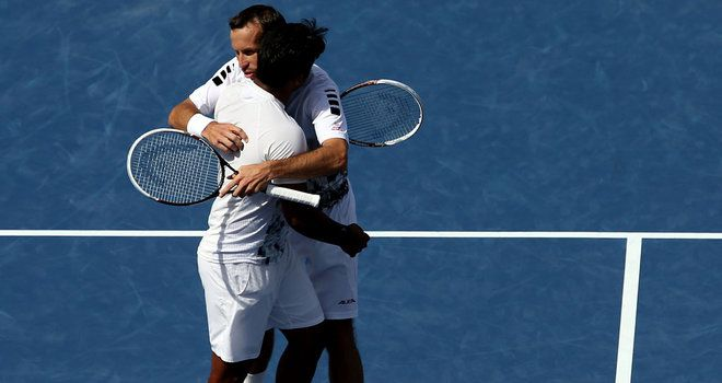 Leander Paes and Radek Stepanek celebrate a famous triumph over the Bryan brothers in New York US Open semifinal 2013