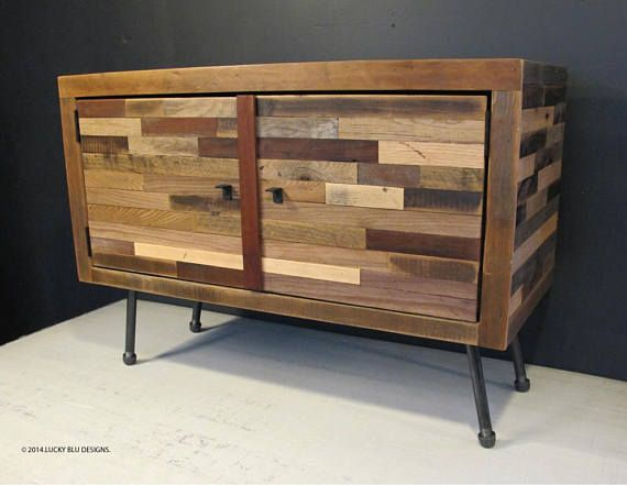 Mid Century Modern TV Stand, Reclaimed Wood TV Stand , Modern Reclaimed Wood Media Console, (SOHO Collection) Luckyblu Designs latest Reclaimed Wood Media Console/ TV Stand now with doors is a new spin on our open concept design it is a blend of styles using reclaimed wood