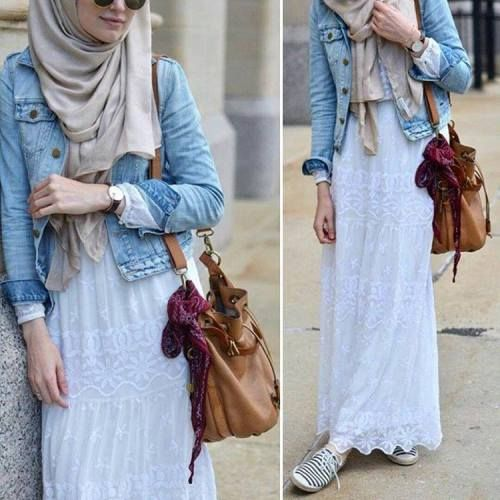 white lace skirt hijab look- Beautiful hijab outfits http://www.justtrendygirls.com/beautiful-hijab-outfits/
