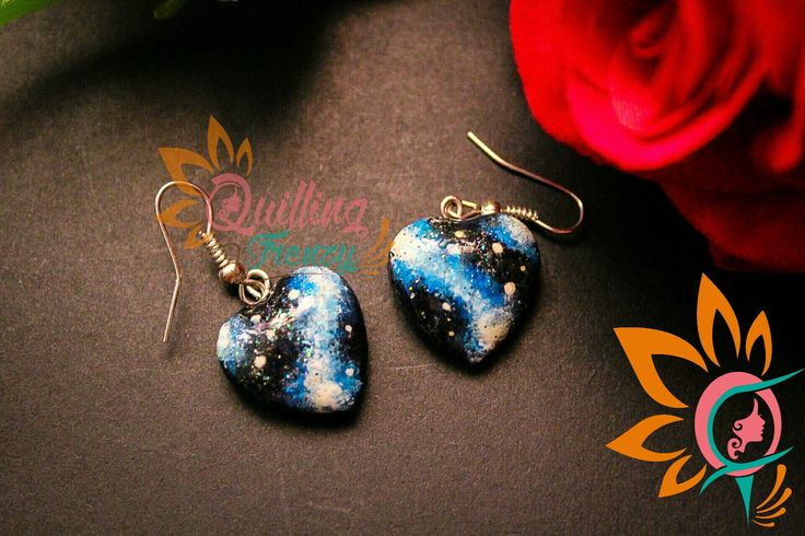 #quillingfrenzy #cabochoncraze #cabochon #galaxy #earrings