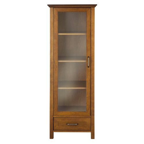 http://www.yourhomeandkitchen.info/elegant-home-fashion-anna-linen-cabinet-with-door-and-bottom-drawer-review/ - Anna Linen Tower Storage Cabinet in Oil Oak finish has an elegant crown molded top with one door and one...