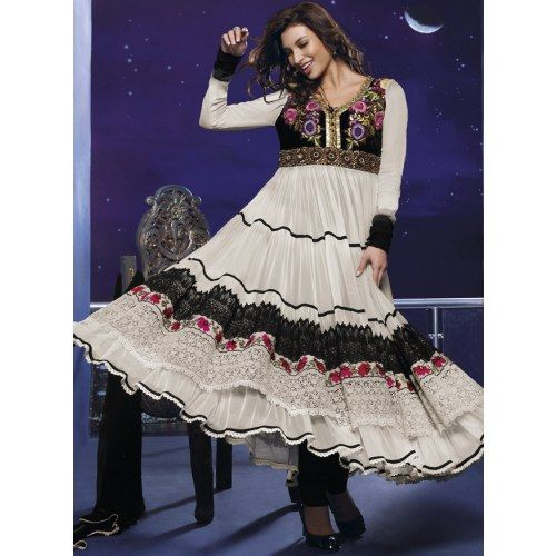 KVD7V18534 - Off White Net Churidar Anarkali Suit with Dupatta