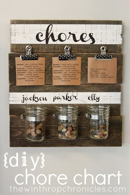 I don't know what I like more about this pin, the idea of such a cool chore chart or the tutorials that show how to stencil/attach mason jars/nail boards together