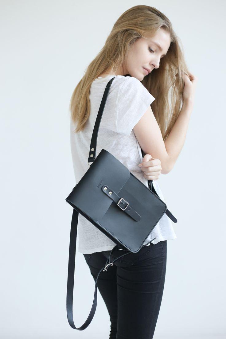 Small Leather Backpack (Black) - NOSKA SHOP